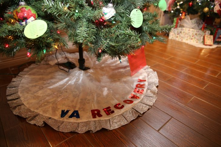 "The words ""VA RECOVERY"" appear at the base cover of a second Recovery Holiday Tree with hand-made ornaments created by VA staff members and Veterans was put on display as part of the Christmas Tree Forest Exhibit at the Brownsville Historical Association's heritage museum in Brownsville, Texas.  Photo taken December 28, 2018. (U.S. Department of Veterans Affairs photo by Luis H. Loza Gutierrez)"