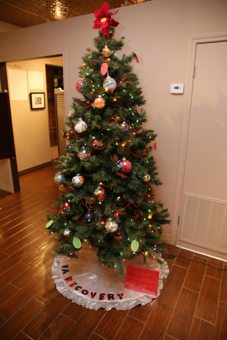 "A second Recovery Holiday Tree with ornaments hand-made by VA staff members and Veterans was put on display as part of the Christmas Tree Forest Exhibit at the Brownsville Historical Association's heritage in Brownsville, Texas. The tree was created with the intention of transmitting the message that ""Recovery is Possible."" (U.S. Department of Veterans Affairs photo by Luis H. Loza Gutierrez)"