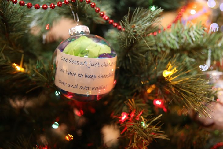 An ornament with a positive message from a Veteran hangs from the branch of a second Recovery Holiday Tree with ornaments made by both VA staff members and Veteran patients was put on display as part of the Christmas Tree Forest Exhibit at the Brownsville Historical Association's heritage museum. Photo taken December 28, 2018 in Brownsville, Texas. (U.S. Department of Veterans Affairs photo by Luis H. Loza Gutierrez)