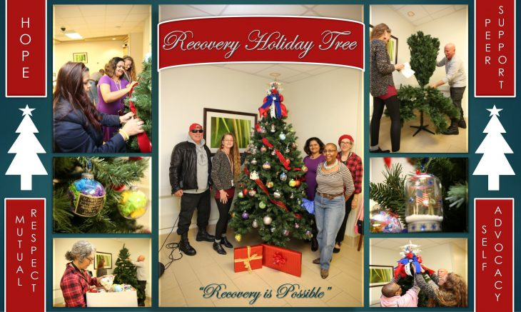 Photo collage of VA Texas Valley Coastal Bend Health Care System (VCB) employees and Veterans participating in the Recovery Holiday Tree Project at the VA Health Care Center at Harlingen, Texas, on December 11, 2018. (U.S. Department of Veterans Affairs photos and photo collage by Luis H. Loza Gutierrez)
