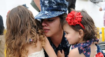 Veteran with her daughters