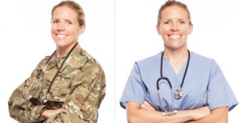 An Army Doctor in Army and Civilian clothes