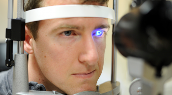 Man receiving glaucoma examination