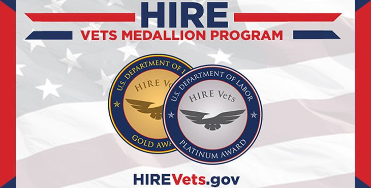 HIRE Vets Medallion Program graphic with gold and silver medals