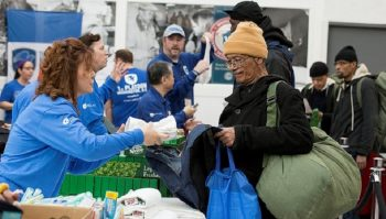 IMAGE: Homeless Veteran receives supplies at a VA Medical Center