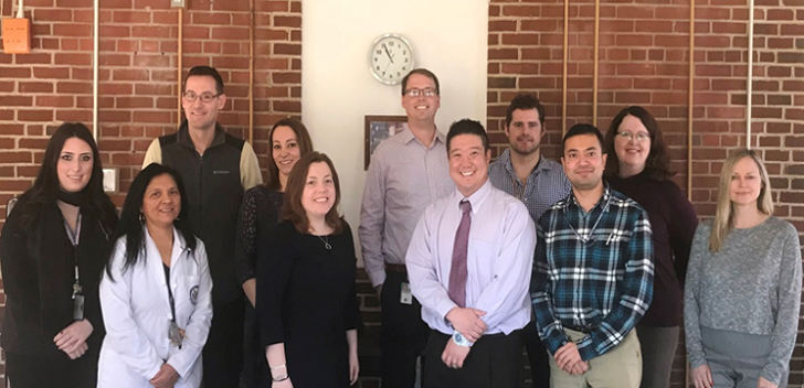 IMAGE: Staff at the VISN 1 New England MIRECC from left to right: Katarina Bernice, B.S.P.S; Maria Gianan; Shane Kraus, Ph.D.; Kendra Pugh, M.A.; Megan Kelly, Ph.D.; Steven D. Shirk, Ph.D.; Jonathan Lee, Ph.D.; Joe Houchins; Kandarp Mehta; Patricia Sweeney, Ph.D.; and, Stephanie Richter, Ph.D.