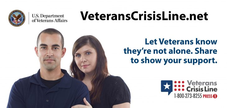 Veterans Crisis Line info graphic with message: Let Veterans know they're not alone. Share to show your support. https://www.veteranscrisisline.net/ If you are a Veteran in crisis call 1-800-273-8255 and Press 1. The Veterans Crisis Line is a free, confidential resource that's available to anyone, even if you're not registered with VA or enrolled in VA health care. The caring, qualified responders at the Veterans Crisis Line are specially trained and experienced in helping Veterans of all ages and circumstances. VCL phone number and logo appear at the lower-right corner.