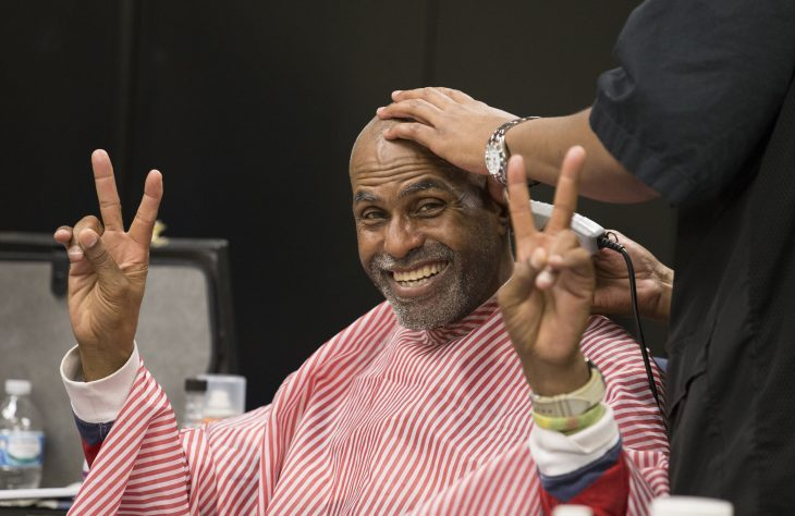 Veteran gets a haircut at a Stand Down Photo by Rey Leal