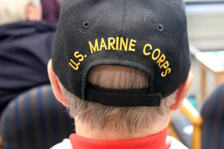 The back of a Veteran's hat