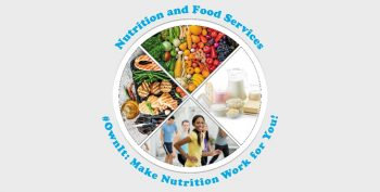 National Nutrition Month graphic - shows various pictures of food as well as people exercising - text reads - Nutrition and Food Services - #OwnIt: Make Nutrition Work for You!