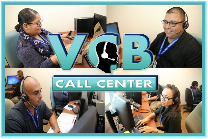 VCB Call Center photo collage featuring VA employees during a training scenario held June 21, 2018, at the VA Health Care Center at Harlingen, Texas. (VA photo by Luis H. Loza Gutierrez)