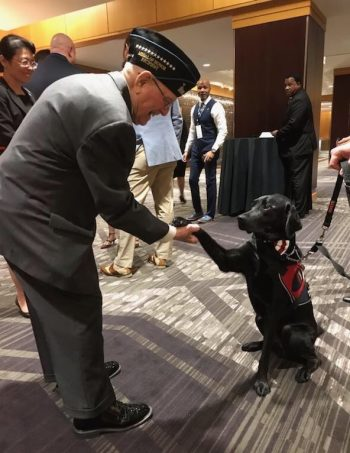 "Veteran Herschel ""Woody"" Williams meets Tampa VA service dog Hercules at the VA PX Symposium."