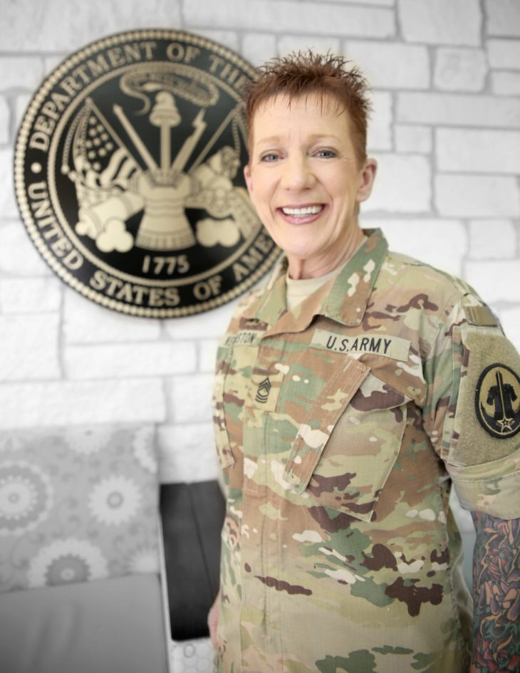 American military Veteran Katherine Kenniston poses for a portrait in front of the seal of the U.S. Army located inside the main lobby of the VA's specialty clinic in Corpus Christi, Texas, on February 22, 2019. Kenniston was one of 22 women Veterans from the Corpus Christi area who participated in VA Texas Valley Coastal Bend Health Care System's (VCB) 2019 Women Veteran's Portrait Project, which is designed to recognize the service of Women Veterans from the local community during Women's History Month, a nation-wide observance that takes place in March. Kenniston enlisted in the Army in 1983. She is a senior non-commissioned officer and holds the rank of master sergeant. She is currently on active status and works as an Army Reserve career counselor.  She deployed from 2009 to 2010 in support of military operations in Kuwait and Afghanistan. She is scheduled to retire in November of this year with more than 24 years of service.  (VA photo illustration by Luis H. Loza Gutierrez)