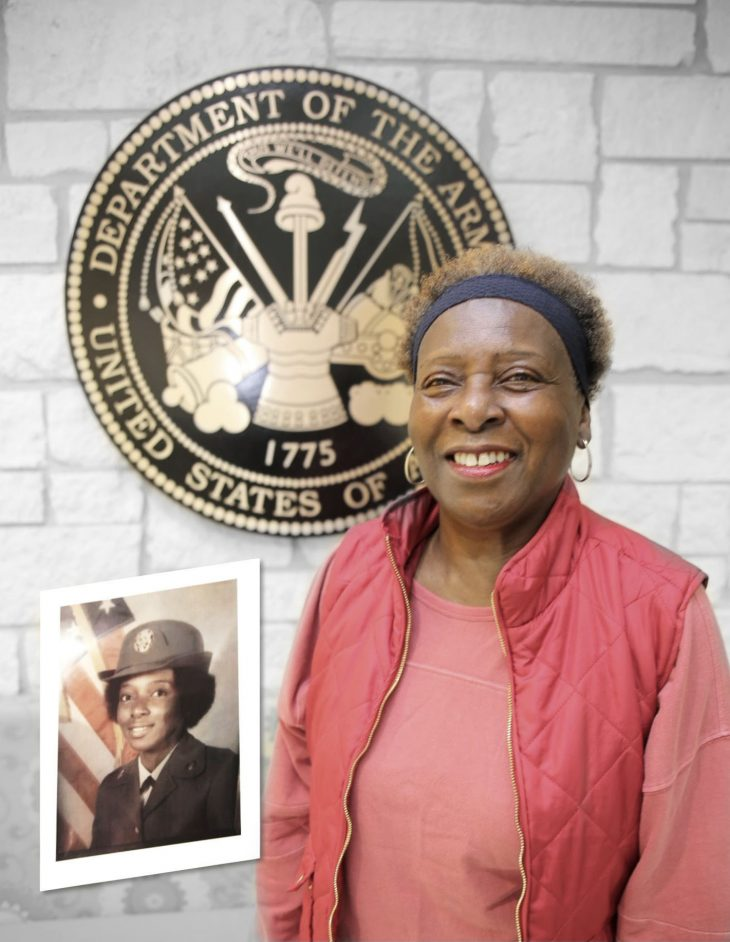 With a photo of herself in military uniform Photo Shopped on the left-hand side, American military Veteran Marie Davis poses for a portrait in front of the seal of the U.S. Army located inside the main lobby of the VA's specialty clinic in Corpus Christi, Texas, on February 22, 2019. Davis was one of 22 women Veterans from the Corpus Christi area who participated in VA Texas Valley Coastal Bend Health Care System's (VCB) 2019 Women Veteran's Portrait Project, which is designed to recognize the service of Women Veterans from the local community during Women's History Month, a nation-wide observance that takes place in March. Davis served in the Army from 1976 to 1979. She achieved the rank of sergeant and worked as a telecommunications specialist during her enlistment.  The photo digitally added to Davis's portrait was captured shortly after she completed basic military training. (VA photo illustration by Luis H. Loza Gutierrez)
