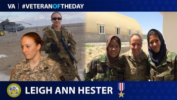 Veteran of the Day graphic of Leigh Ann Hester.