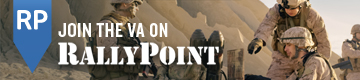 Graphic advertising RallyPoint. Text reads: RP - JOIN THE VA ON RALLYPOINT