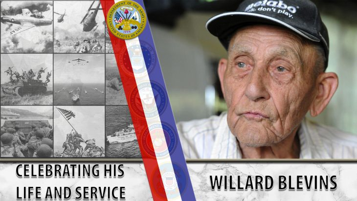 Graphic featuring Willard Blevins - text reads: Celebrating his life and service - Willard Blevins