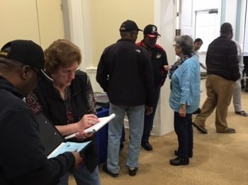 Veterans in the Goldsboro, North Carolina area gather at the Veterans Experience Action Center to get more information on VA benefits.
