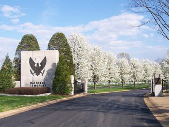 The main entrance to Jefferson Barracks National Cemetery in St. Louis, Missouri.