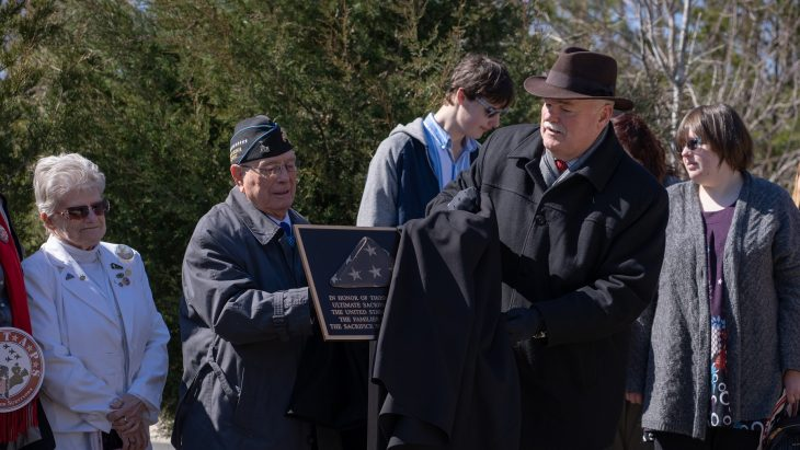 "Members from the National Cemetery Administration unveiled the first in a series of plaques dedicated to the fallen and their families during a ceremony, Tuesday, March 5, 2019, at Quantico National Cemetery. Under Secretary for Memorial Affairs, Randy C. Reeves  and  Medal of Honor recipient, Hershel ""Woody"" Williams, were among the presenters."