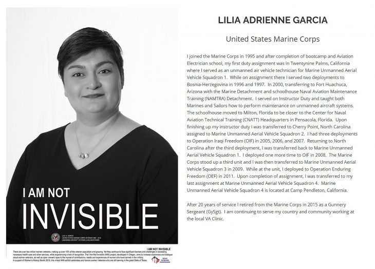 "Black and white portrait of Marine Corps Veteran Lilia A. Garcia captured by VA photographer Eugene Russell at the VA outpatient clinic in Austin, Texas, on January 10, 2019. Garcia was one of two female employees from VA Texas Valley Coastal Bend Health Care System to help raise awareness about the challenges Women Veterans face by participating in the ""I Am Not Invisible"" project for Texas. (Screen shot image courtesy of Texas Veterans Commission official website)"