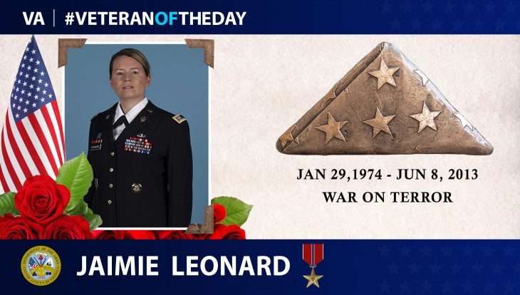 Veteran of the Day graphic for Jaimie Leonard