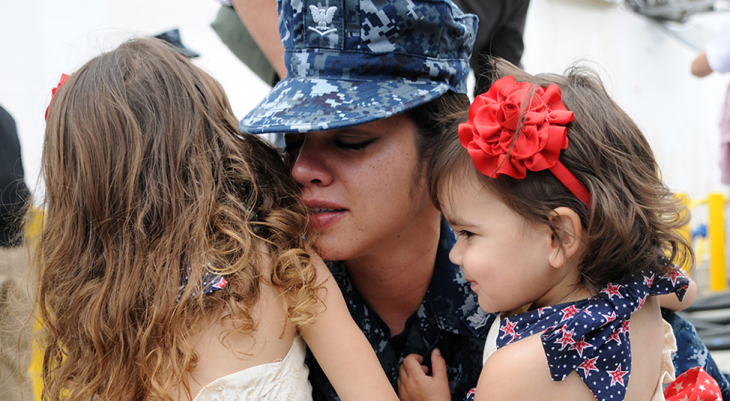 Woman Veteran and her children