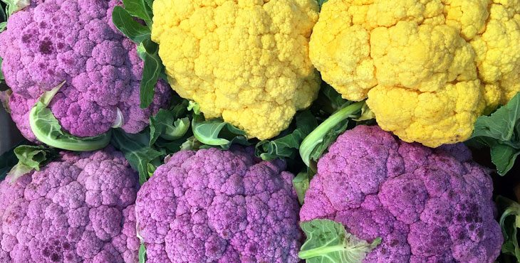 Photo shows yellow and purple cauliflower