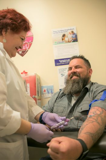 Veteran having his blood drawn