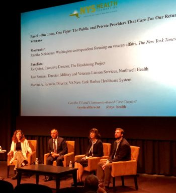 Speakers during one of the panel discussions held at the New York State Health Foundation conference.