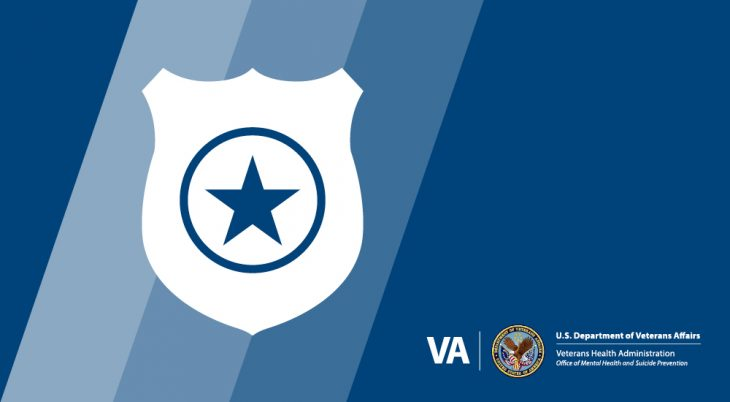 Graphic of police shield over blue background