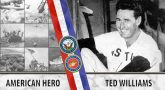 A Veteran's Story graphic for Ted Williams. Text reads: American Hero - Ted Williams
