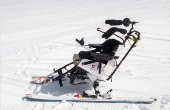 A tetraski at Snowmass used by quadriplegic Veterans