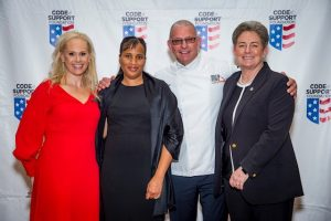 "Kristy Kaufmann, Code of Support Foundation's (COSF) Chief Executive Officer; Judith Foster, VA social worker at the Dublin, Ga VAMC and recipient of the COSF's ""Salute to Service"" award; Celebrity Chief Robert Irvine; and Cassandra Law, Associate Chief Patient Care Services Officer."