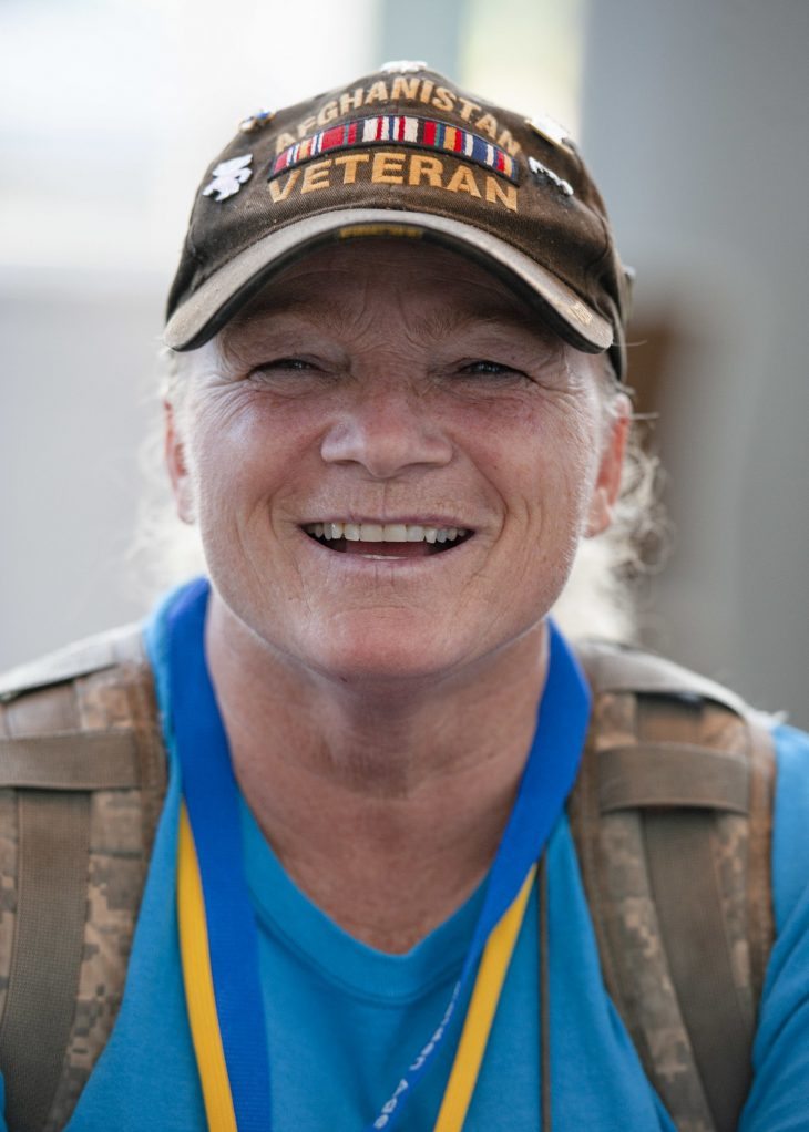 Casey Chamberland from Boscobel, Wisconsin. The Army Veteran traveled to Anchorage, Alaska, for her first National Golden Age Games. (Reynaldo Leal/U.S. Department of Veterans Affairs)