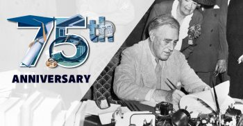 graphic of FDR signing GI Bill into law