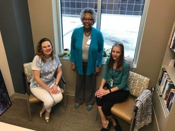 Carine Meyer, LCSW; Audrey Dawkins-Oliver, LCSW; and Dr. Lisa Robinson, a psychologist in our PTSD program, at the new Mental Health Facility.
