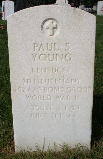 Grave marker for 2nd Lt. Paul S. Young at Zachary Taylor National Cemetery.