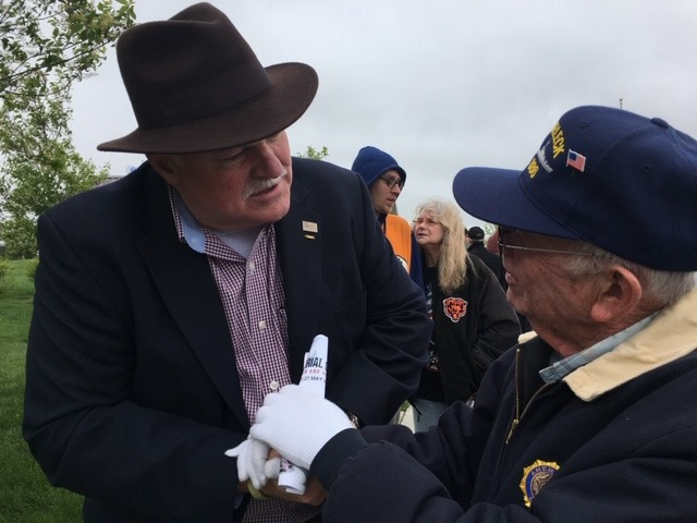 USMA Reeves shakes hands with a Veteran
