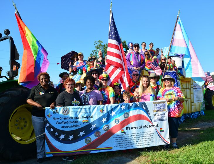 New Orleans VA employees posing for photo at Pride Parade
