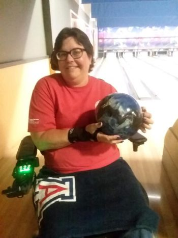 Pamela Foley and her bowling ball.