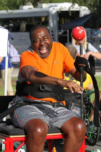Shot put athlete at the Wheelchair Games.