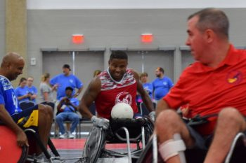 Veteran Ryan Major competes in one of his favorite sports at the National Veterans Wheelchair Games, rugby. He loves the contact, the fast pace and smack talking.