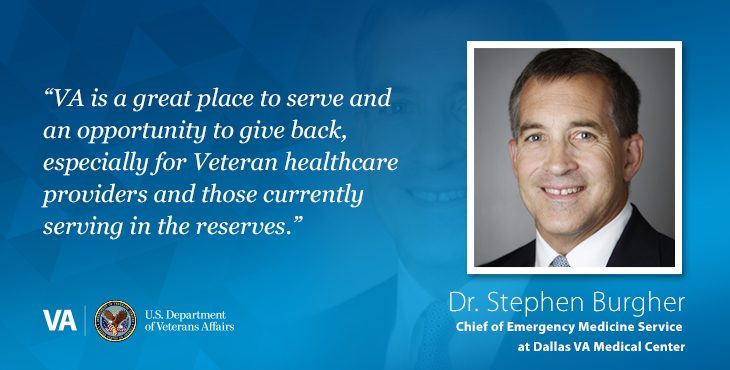 Dr. Stephen Burgher is the Chief of Emergency Medicine Service at Dallas VA Medical Center.