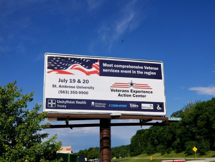 Billboards are up and the word is out on the Quad Cities Veterans Experience Action Center on July 19 and 20 in Davenport, Iowa.