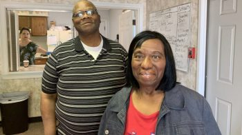 Clubhouse member David Fearance and his caregiver Kat Blane at Circle City Clubhouse. Fearance, a 59-year-old Army veteran has been coming to Circle City Clubhouse, Indianapolis for nearly three years. Photo by Jill Sheridan/IPB News