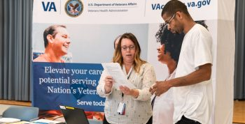 VA employees consult with applicants for VA healthcare jobs.