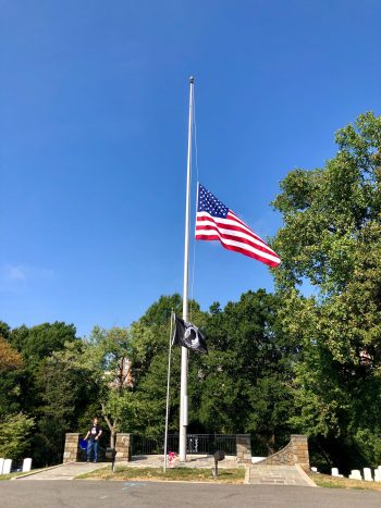 Flags flew at half staff at national cemeteries in honor of Sept. 11.