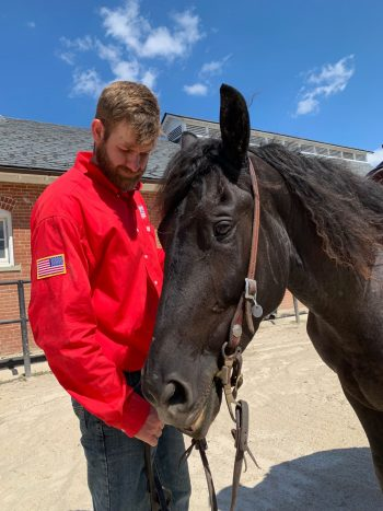 Army Veteran Mitchell Hedlund, one of the Trail to Zero riders, served in Afghanistan in 2011-2012 and now uses equine therapy.