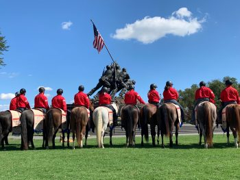 BraveHearts riders stop in front of the Marine Corps War Memorial during the Trail to Zero ride in Northern Virginia Sept. 7, 2019.